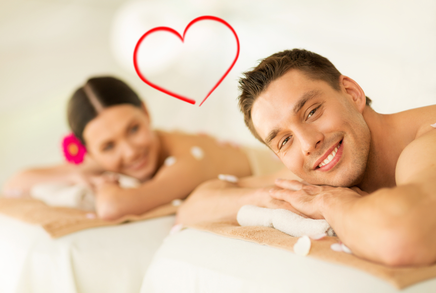 Smiling couple lying on massage table in spa salon style for A trial beauty treatment salon